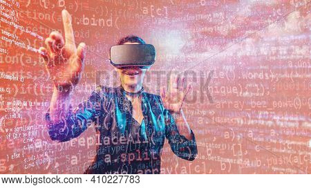 Young Girl Getting Experience Vr Headset Is Using Augmented Reality Eyeglasses Being In Virtual Real