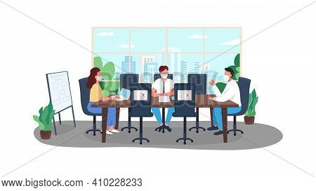 Covid Business Plan Flat Color Vector Illustration. Lockdown Corona Virus Reality. Quarantine Rules