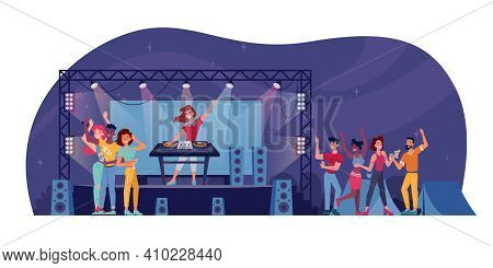 Open Air Festival, Dj On Stage, Audience At Nightclub Party Isolated. Nightlife Entertainment, Music