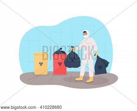Throw Out Medical Waste 2d Vector Web Banner, Poster. Getting Rid Of Plastic Masks. Coronavirus New