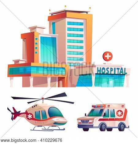Medical Clinic With Hospital Building, Ambulance Van And Helicopter Isolated Cartoon Icons Set. Mode