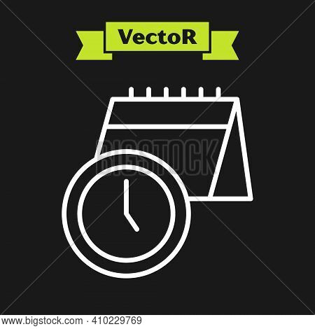 White Line Calendar And Clock Icon Isolated On Black Background. Schedule, Appointment, Organizer, T