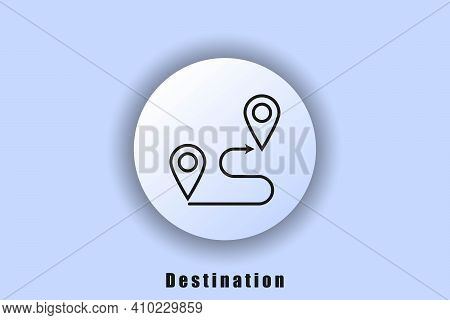 Destination Icon. Travel Navigation Line Icon. Location On The Map. Track Distance. Route Location.