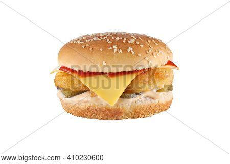 Burger With Chicken And Cheese Isolated On White Background. Cheeseburger Fast Food Meal.
