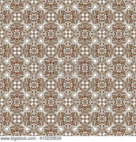 Brown Decorative Openwork Pattern On A White Background