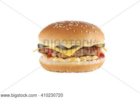 Burger With Cheese Isolated On White Background. Cheeseburger Fast Food Meal.