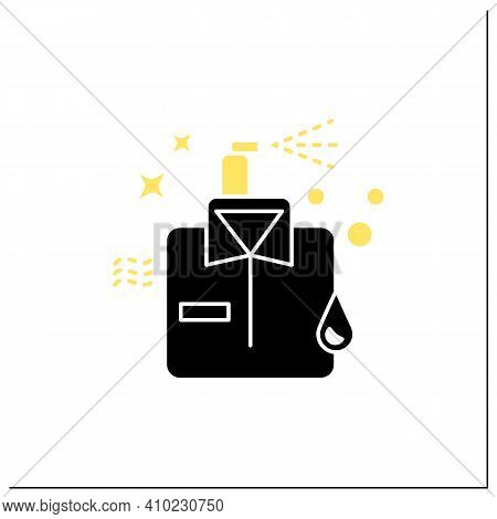 Dry Cleaning Glyph Icon. Laundry Service. Ironing. Washer. Using Chemical Solvent With Water. Cleani