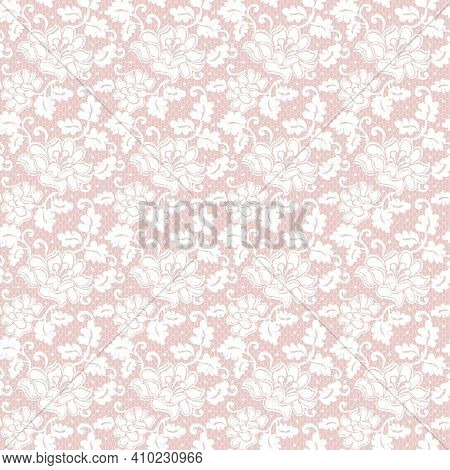 Seamless White Lace With Zinnias Pattern On A Pink Background
