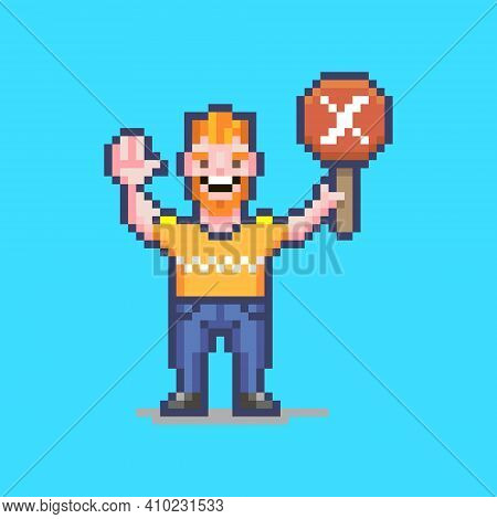 Colorful Simple Flat Pixel Art Illustration Of Smiling Guy Holding A Red Sign With A White Cross On