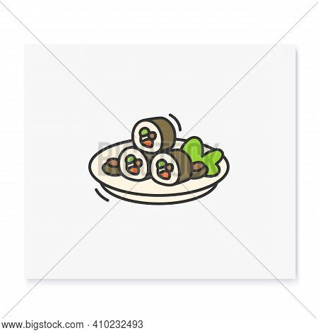Kimbap Color Icon. Korean Seaweed Wrapped Rolls. Traditional Korean Rolls With Rice, Cream Cheese, F