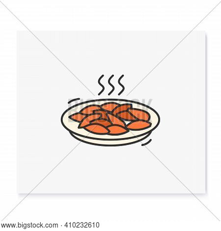 Tteokbokki Color Icon.traditional Korean Dish Outline Sign On White. Stir Fried Rice And Salty Fish