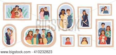 Vector Family Photo Frames. Happy People Portraits In Wall Picture Frames, Family Portrait Photos. F