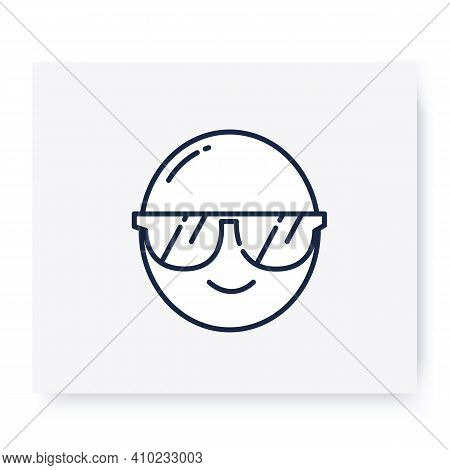 Face With Sunglasses Line Icon. Smiled Face, Cute Simple Emoticon. Facial Expression Emoji. Isolated