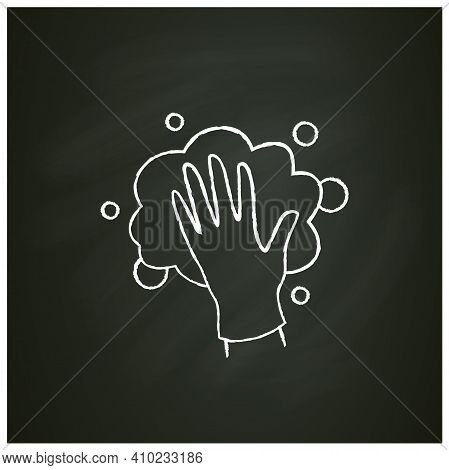Foaming Chalk Icon. Soaping, Wiping. Housekeeper Hand In Glove, Whipping Foam Pictogram. Wet Cleanin