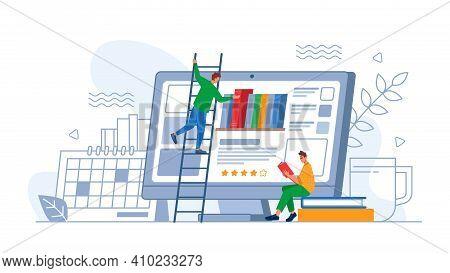 Digital Online Education Application Or App, Person Choosing New Book On Computer Screen. Vector Stu