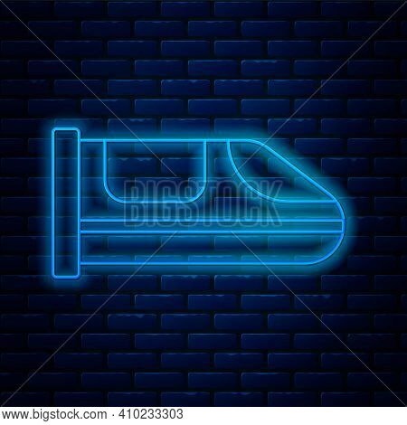 Glowing Neon Line High-speed Train Icon Isolated On Brick Wall Background. Railroad Travel And Railw