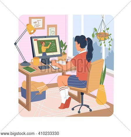 Distance Education On Quarantine Woman Student Learning Online On Computer At Home. Vector Female In