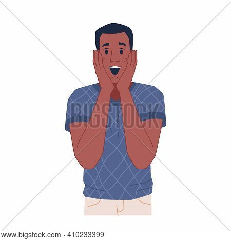 Excited Man With Happy Facial Expression Isolated Flat Cartoon Character. Vector Surprised Astonishe