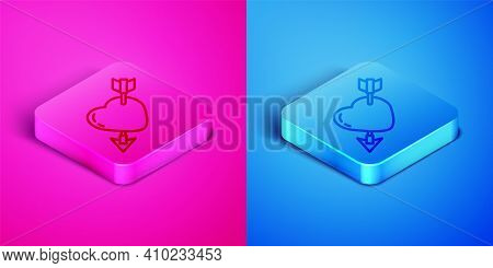 Isometric Line Amour Symbol With Heart And Arrow Icon Isolated On Pink And Blue Background. Love Sig