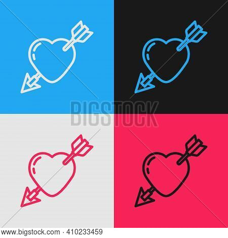 Pop Art Line Amour Symbol With Heart And Arrow Icon Isolated On Color Background. Love Sign. Valenti