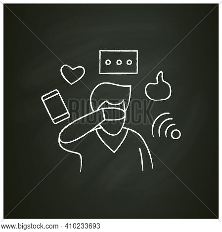 Attention Focus Chalk Icon. Man Ignoring Social Media Notifications. Concept For Mind Focus Manageme
