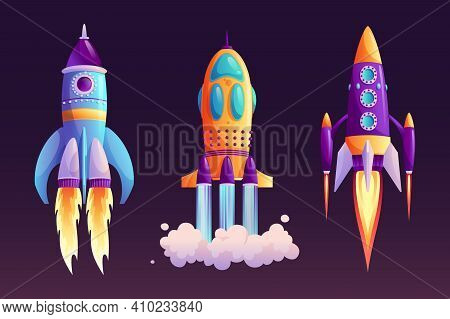 Space Ship Launch, Rocket With Fire Trace And Smoke Isolated Cartoon Set. Vector Start Of Business O