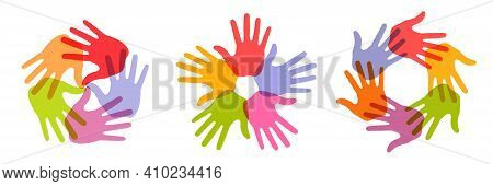 Hand Print Circle Icon Set. Colorful Bright Design Element. Handprint Emblems. Hand Round Insignia.