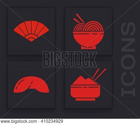 Set Rice In A Bowl With Chopstick, Paper Chinese Or Japanese Folding Fan, Asian Noodles In Bowl And