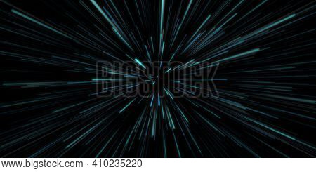Blue Space Travel in Outer Space Science Fiction Concept