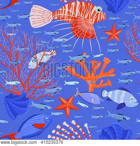 Marine Life Seamless Pattern. Tropical Fish. Different Corals. Coral Reef. Ocean Bottom Nature Backg