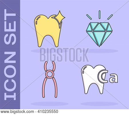 Set Calcium For Tooth, Tooth Whitening Concept, Dental Pliers And Diamond Teeth Icon. Vector