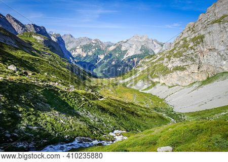 Mountain And Hiking Path Landscape In Pralognan La Vanoise National Park. French Alps
