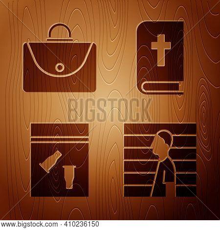 Set Suspect Criminal, Briefcase, Evidence Bag And Bullet And Holy Bible Book On Wooden Background. V