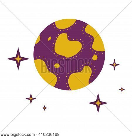 A Planet With Craters And Stars Is Isolated On A White Background. Vector Illustration For The Desig