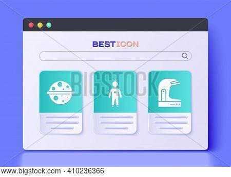Set Astronaut, Planet Saturn And Astronaut Helmet Icon. Vector