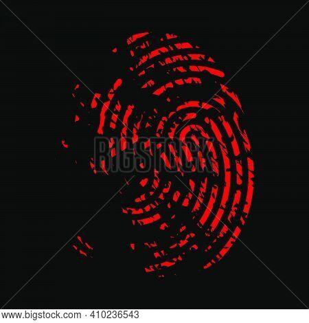 Bloody Fingerprint Icon. Murder Biometrics Mark Illustration. Mystery Criminal Trace Isolated On Bla