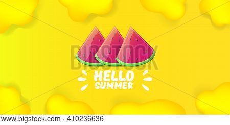 Vector Hello Summer Beach Party Horizontal Banner Design Template With Fresh Watermelon Slice Isolat