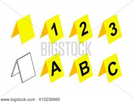 Crime Scene Markers Design. Plastic Yellow  Investigation Label Icon Set With Letter A, B, C And Num