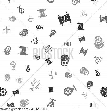 Set Torah Scroll, Star Of David, World Globe And Israel And Hanukkah Menorah On Seamless Pattern. Ve