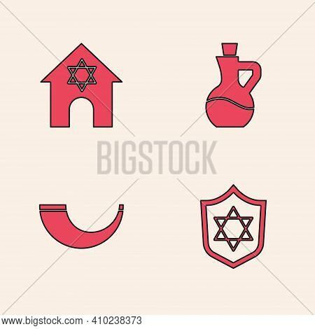 Set Shield With Star Of David, Jewish Synagogue, Bottle Olive Oil And Traditional Ram Horn, Shofar I