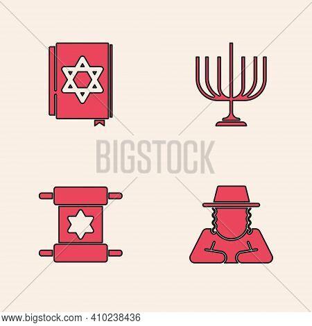 Set Orthodox Jewish Hat, Jewish Torah Book, Hanukkah Menorah And Torah Scroll Icon. Vector