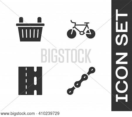 Set Bicycle Chain, Basket, Lane And Icon. Vector