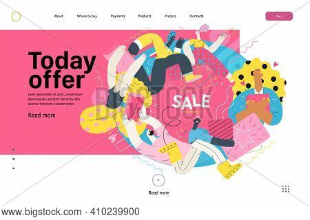 Discounts, Sale, Promotion Vignette - Web Template - Modern Flat Vector Concept Illustration Of Peop