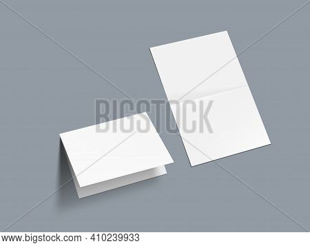 3d Horizontal Fold Blank White Brochure Template
