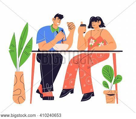 Young Couple Having Lunch Together, Cartoon Vector Illustration Isolated On White Background. People
