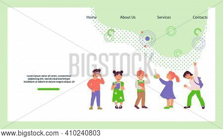 Clever Smart Kids Among Books And Scientific Instruments, Flat Vector Illustration Isolated On White