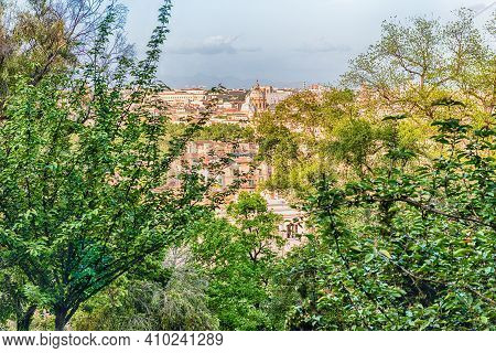 Aerial View Of Rome From The Green Gardens On The Janiculum Hill, Italy