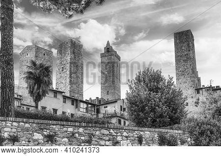 Scenic Skyline In The Medieval Town Of San Gimignano, Iconic Town In The Province Of Siena, And One