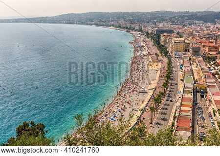 Scenic Aerial View Of The Waterfront And The Promenade Des Anglais From The Castle Hill In Nice, Cot