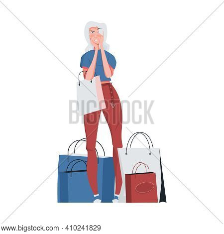 Addiction Composition With Flat Character Of Greeding Woman With Paper Shopping Bags Vector Illustra